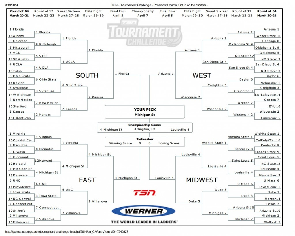 Barack Obama 2014 NCAA Tournament Bracket