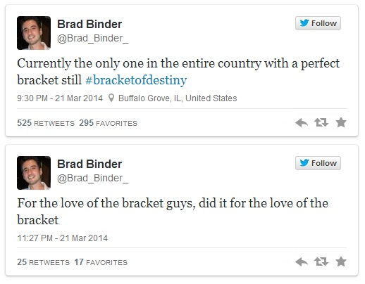 Brad perfect bracket tweet