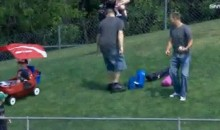 Close Call After Dad Leaves Child Unattended in a Wagon While Chasing Souvenir Baseball (GIF)
