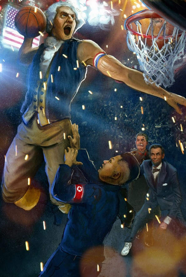 George Washington Posterizes Kim Jong Eun