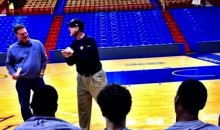 Jim Harbaugh Was Giving Pep Talks and Hitting Half-Court Shots with the Kansas Jayhaws in His Famous Khakis Yesterday (Pic + Video)