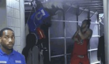 Pistons Mascot Scares the Heck Out of Joakim Noah (GIF)