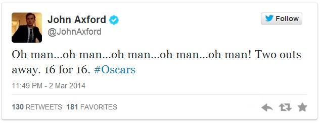 John Axford Oscar Tweet 1