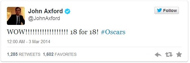 John Axford Oscar Tweet 2