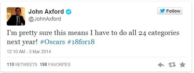 John Axford Oscar Tweet 3