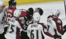 NHL Linesman Gets Punched in the Head Trying to Break Up a Scuffle (GIF)