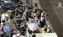 Minnesota Twins Mascot Catches Ball in Mouth (GIF)