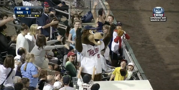 Twins Mascot Catches Ball in Mouth
