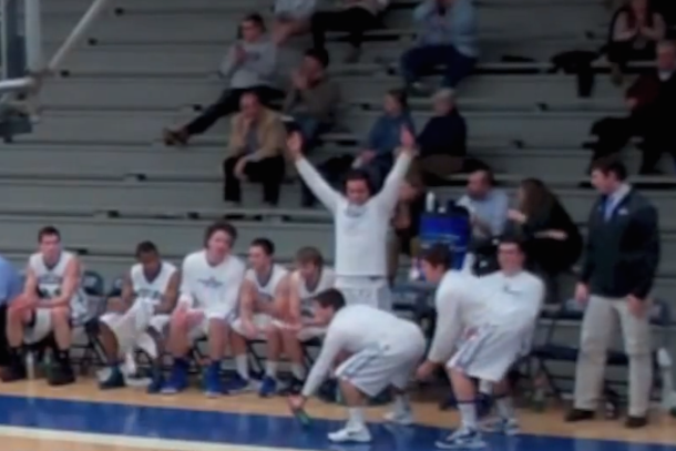 colby college basketball bench celebrations