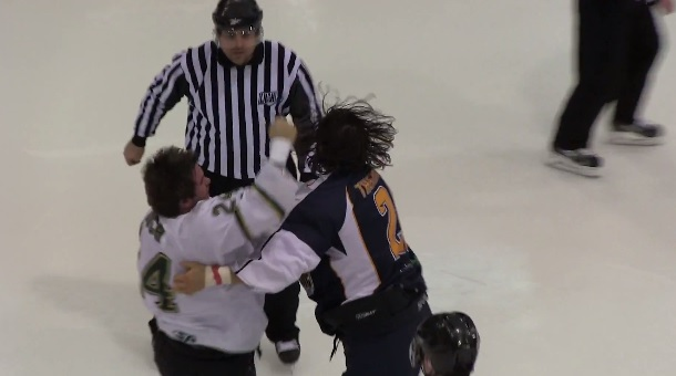 epic hockey fight ends with high five