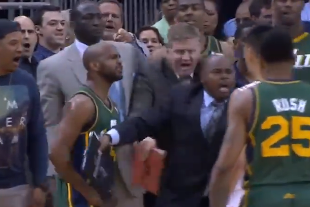fight at end of jazz rockets game