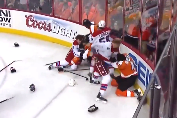 flyers capitals brawl old time hockey