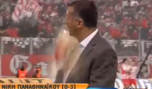 Unruly Olympiakos Hooligans Hit Opposing Coach in Face with Full Cup of Soda (Video + GIF)