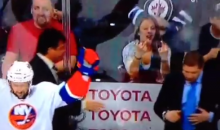Islanders Coaches Troll the Hell Out of the Classy Female Jets Fan Flipping Them the Bird (Video)
