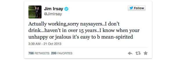 jim irsay tweet says he does not drink 15 years sober
