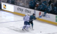 Leafs Captain Dion Phaneuf Deliveres Huge Open-Ice Hit…to His Own Teammate (GIF)