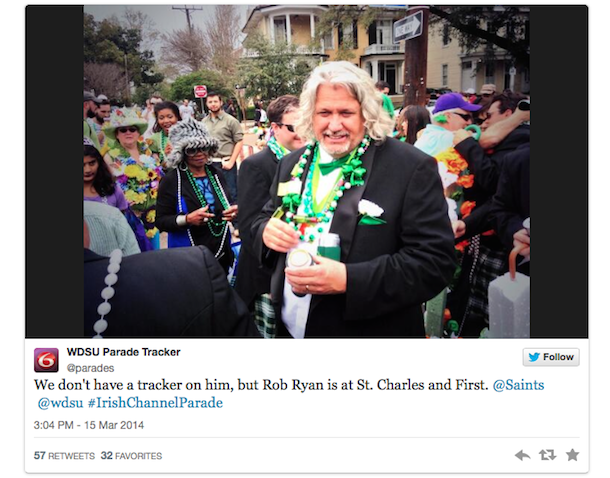 rob ryan st. patrick's day new orleans tweet 2