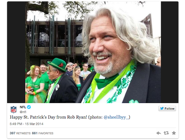 rob ryan st. patricks day parade new orleans tweet