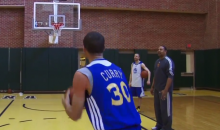 Watch Stephen Curry Get Blown Away by His Coach Marc Jackson in a Three Point Contest (Video)