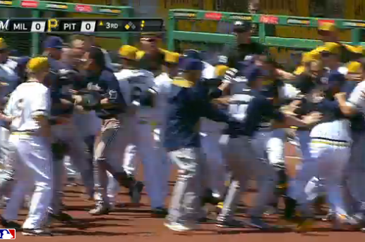 Brewers and Pirates Benches Cleared During Fight