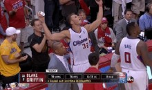 Blake Griffin Reacts to Foul, Dumps Water on Warriors Fan (GIF)