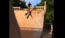 Worst Dad Ever Kicks Son Down Halfpipe (Video)