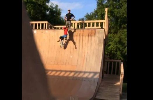 Dad Kicks Son Down Halfpipe