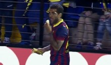 Barcelona's Dani Alves Eats Banana Thrown At Him by a Fan (Video)