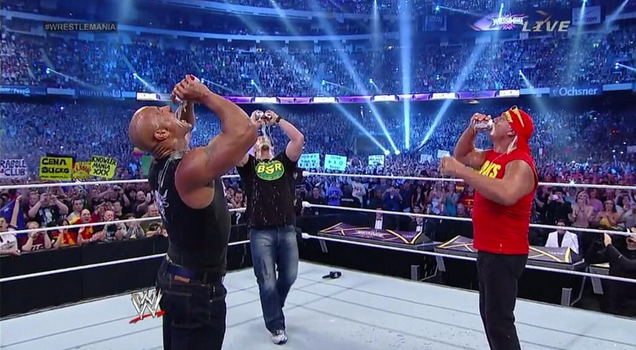 Hogan rock Steve Austin beer wrestlemania xxx