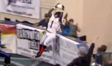 Indoor Football Player Goes Up and Over the Wall For Incredible Catch (Video + GIF)