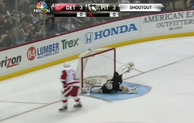Marc-Andre Fleury cartwheel save on Alfie