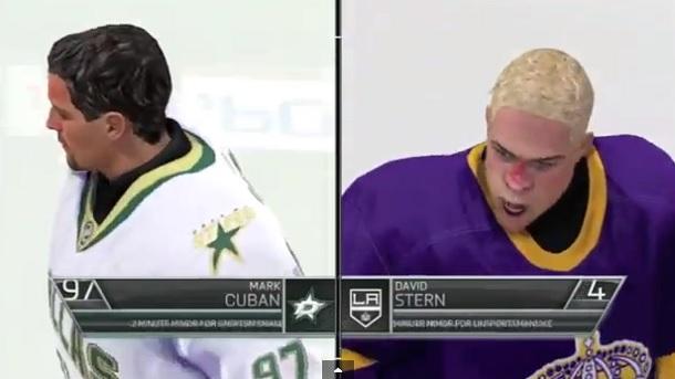Mark Cuban vs. David Stern hockey fight