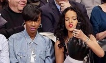Rihanna Uses Giant Foam Finger to Entertain Old White Men at Brooklyn Nets Game (Pics)