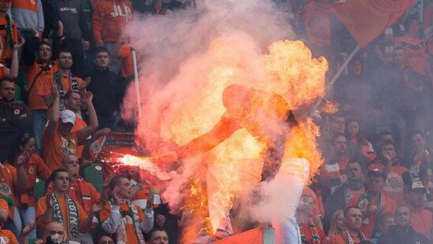 Soccer fan on fire