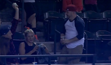 Diamondbacks Fan Spills Beer on His Date While Going For a Foul Ball (Video)