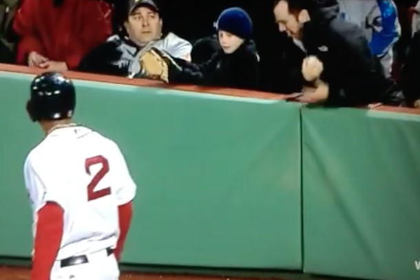 asshole red sox fan steals ball from kid
