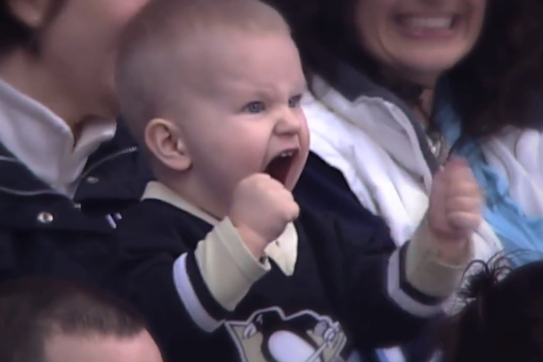 baby loves the penguins (penguins baby superfan)