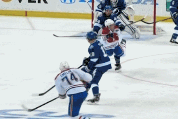 brendan gallagher puck to throat