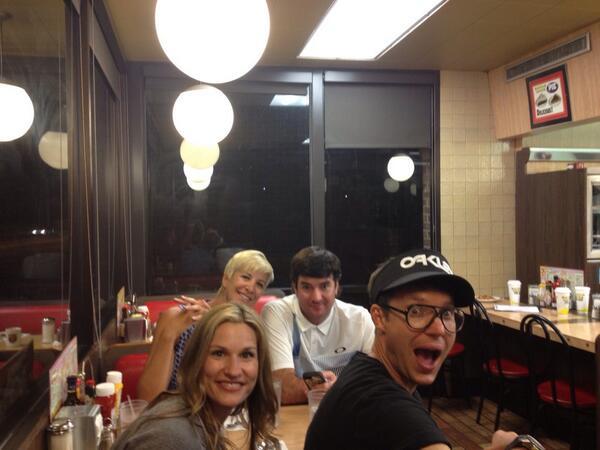 bubba watson celebrates at waffle house