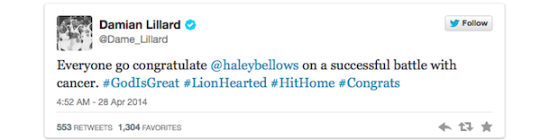 damian lillard tweet portland trail blazers fan haley bellows cancer sign