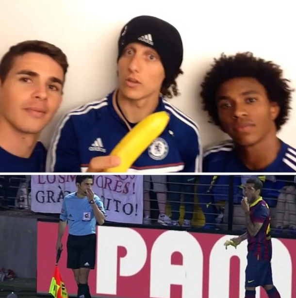 david luiz with willian and oscar eating banana instagram we are all monkeys meme