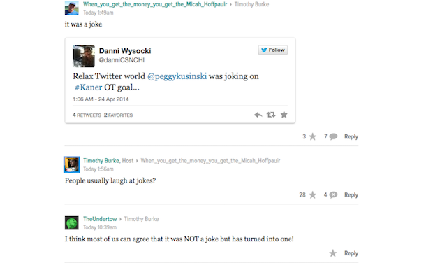 deadspin comments peggy kusinki question