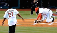 Angels Batting Coach Don Baylor Breaks His Femur Catching Ceremonial First Pitch (Video)