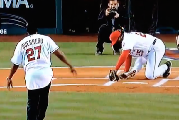 don baylor breaks femur during ceremonial first pitch