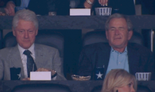 Here's a GIF of George W. Bush (Possibly) Farting at the National Championship Game (GIF)