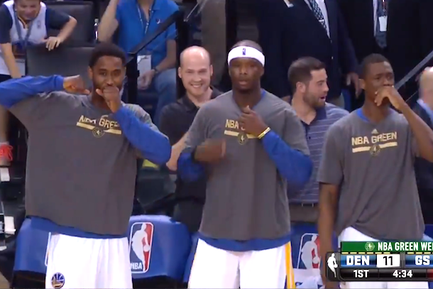 golden state bench reacts to andre iguodala double crossover ankle-breaker