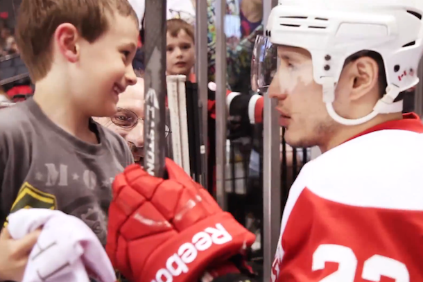 jordin tootoo gives stick to young fan
