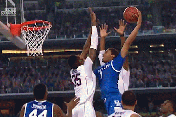 kentucky james young posterizes uconn amida brimah in national championship game
