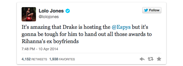 lolo jones espys drake rihanna tweet