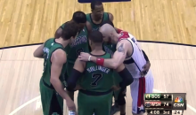 Watch the Wizards' Seven-Foot Center Marcin Gortat Sneak Into the Celtics Huddle (Video)